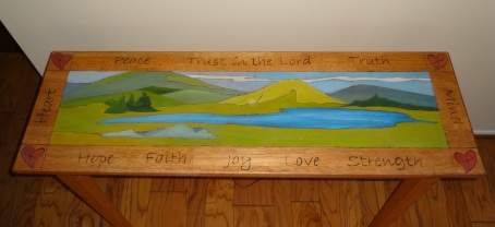 Hall Table - Hand Painted and Wood Burned letters and design - SOLD