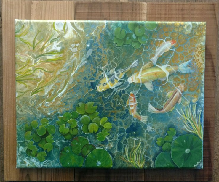 This began as a simple acrylic pour and layered with details to create the illusion of a koi pond.