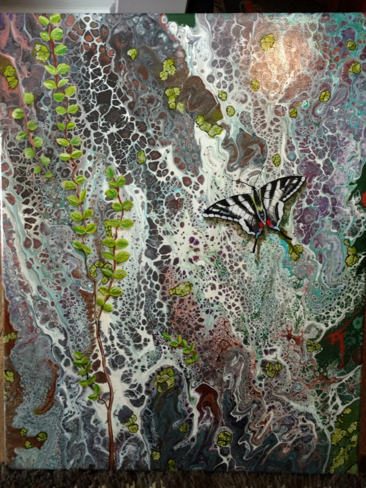 """Granite Wall with Butterfly Acrylic on Canvas 24"""" x 20.5"""" Mounted on Wood $375"""